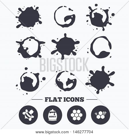Paint, coffee or milk splash blots. Honey icon. Honeycomb cells with bees symbol. Sweet natural food signs. Smudges splashes drops. Vector