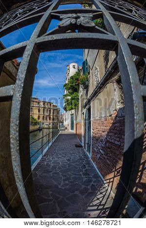 Fish eye view at architecture of Venice,Italy.