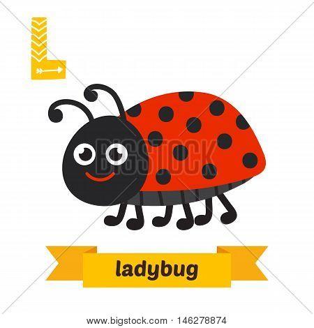 Ladybug. L Letter. Cute Children Animal Alphabet In Vector. Funny Cartoon Animals