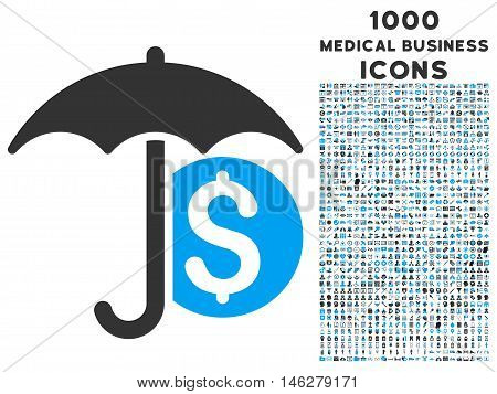 Money Umbrella Protection vector bicolor icon with 1000 medical business icons. Set style is flat pictograms blue and gray colors white background.