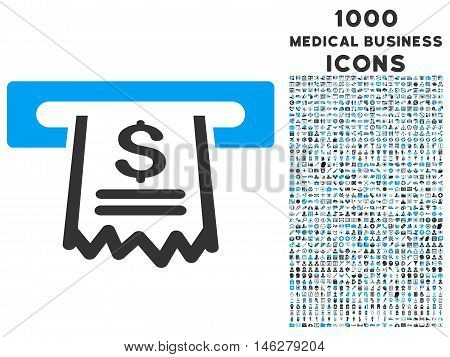 Paper Receipt Machine vector bicolor icon with 1000 medical business icons. Set style is flat pictograms blue and gray colors white background.