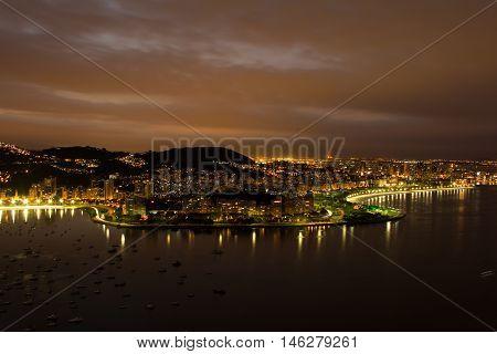 Aerial view over Rio de Janeiro beachfront neighborhood Botafogo