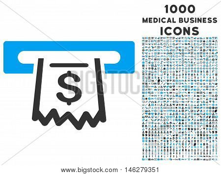 Paper Receipt Terminal vector bicolor icon with 1000 medical business icons. Set style is flat pictograms blue and gray colors white background.