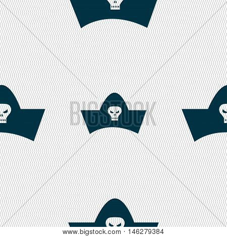 Black Pirate Hat With Skull And Crossbones Icon Sign. Seamless Pattern With Geometric Texture. Vecto