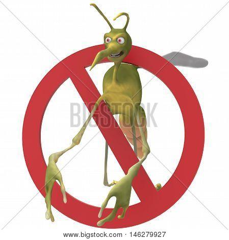 Mosquito da dengue malvado voando dentro de um sinal de proibido.