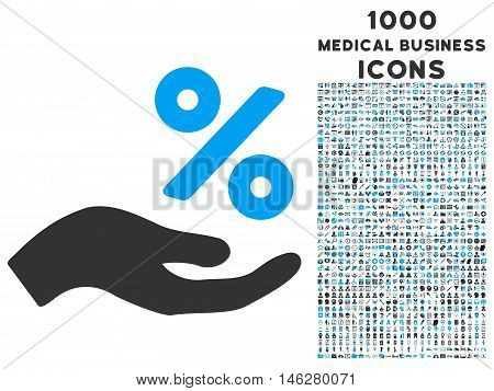 Percent Offer Hand vector bicolor icon with 1000 medical business icons. Set style is flat pictograms blue and gray colors white background.