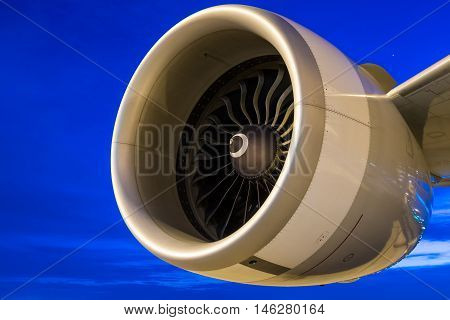 jet engine at twilight sky. jet engine at airport