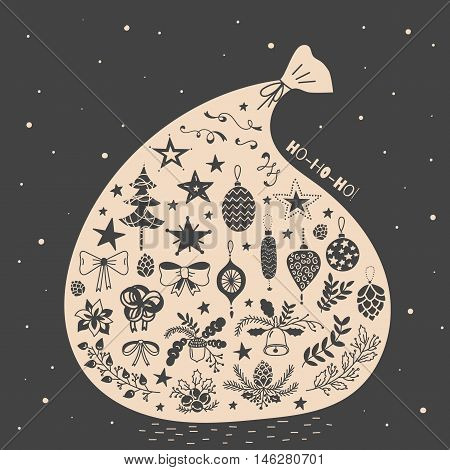 Vector illustration of magic Santa gift bag with christmas icons set. Spruce, bows, oak and fir branches, bells, pinecones, stars, acorns, snowflakes, hohoho sign. Black and beige, vintage style