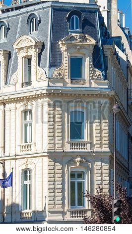 The typical French architecture facade of Parisian building France.