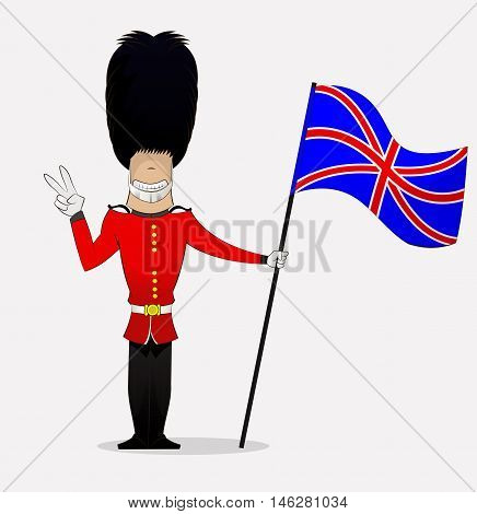 Cartoon British guardsman shows peace symbol holding flag . Vector