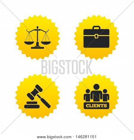 Scales of Justice icon. Group of clients symbol. Auction hammer sign. Law judge gavel. Court of law. Yellow stars labels with flat icons. Vector