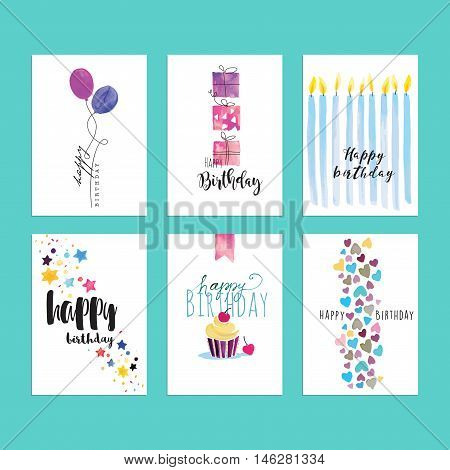 Birthday greeting card templates. Hand drawn watercolor vector illustrations for website banners, greeting cards, invitations.
