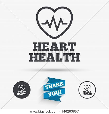 Heartbeat sign icon. Heart health cardiogram check symbol. Flat icons. Buttons with icons. Thank you ribbon. Vector