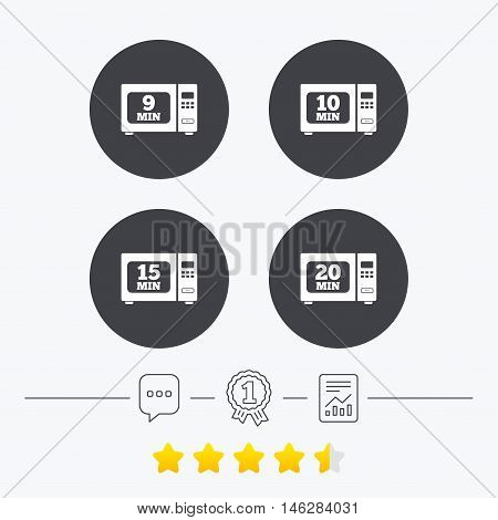 Microwave oven icons. Cook in electric stove symbols. Heat 9, 10, 15 and 20 minutes signs. Chat, award medal and report linear icons. Star vote ranking. Vector