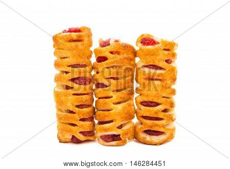 Puff pastry filled with jam  dessert isolated.