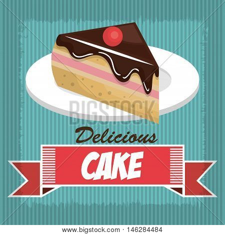 icon delicious cake dessert isolated vector illustration eps 10