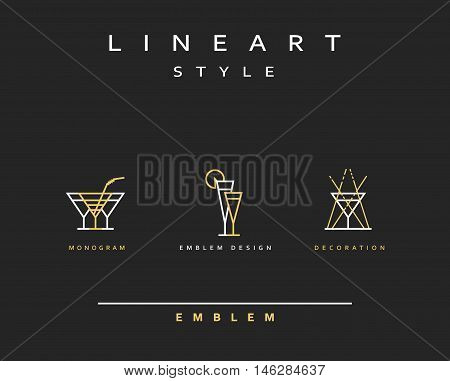 Cocktail wineglass vector icon style line art. Monogram emblem element design style lineart.