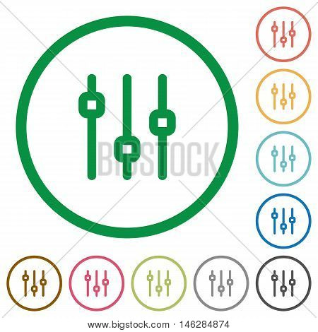 Set of vertical adjustment color round outlined flat icons on white background