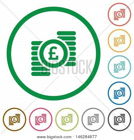 Set of Pound coins color round outlined flat icons on white background