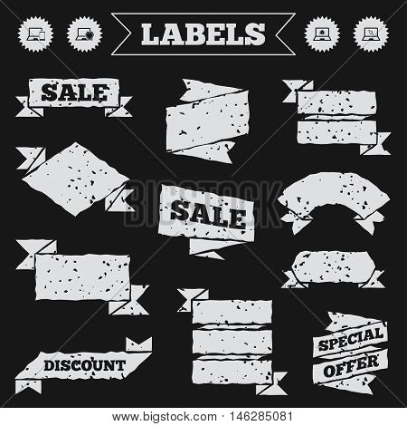 Stickers, tags and banners with grunge. Notebook laptop pc icons. Virus or software bug signs. Shield protection symbol. Mouse cursor pointer. Sale or discount labels. Vector