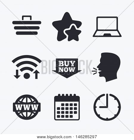 Online shopping icons. Notebook pc, shopping cart, buy now arrow and internet signs. WWW globe symbol. Wifi internet, favorite stars, calendar and clock. Talking head. Vector