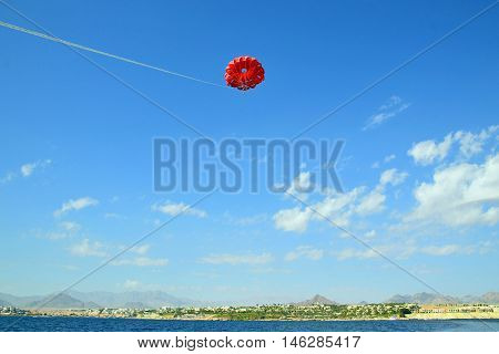 A beautiful view of parasailing in Egypt.
