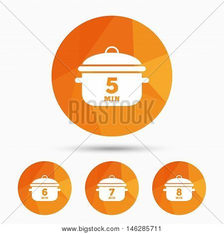 Cooking pan icons. Boil 5, 6, 7 and 8 minutes signs. Stew food symbol. Triangular low poly buttons with shadow. Vector