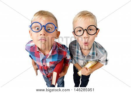 Wide angle close-up funny portrait of two boys student in shirt in glasses hugging book in hands looking at camera isolated on white background. School preschool