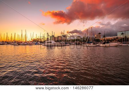 Panorama view of Ala Wai Harbor at sunset. Ala Wai Harbor is the largest small-boat and yacht harbor in Hawaii, situated between Waikiki and Honolulu downtown