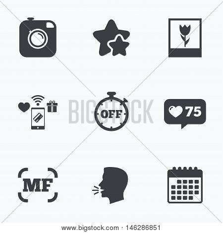 Hipster retro photo camera icon. Manual focus symbols. Stopwatch timer off sign. Macro symbol. Flat talking head, calendar icons. Stars, like counter icons. Vector