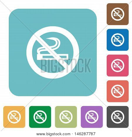 Flat no smoking icons on rounded square color backgrounds.