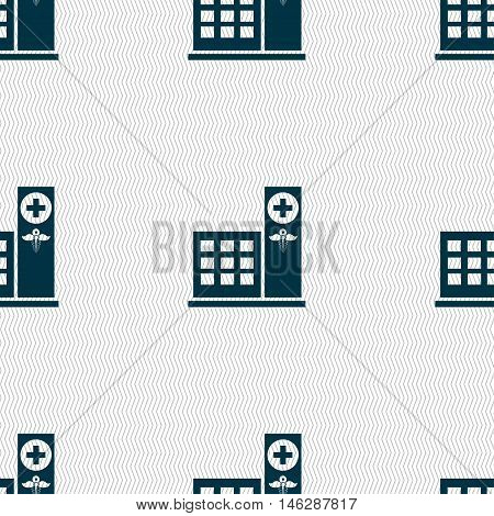Hospital Icon Sign. Seamless Pattern With Geometric Texture. Vector
