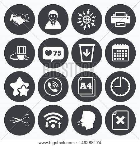 Calendar, wifi and clock symbols. Like counter, stars symbols. Office, documents and business icons. Printer, handshake and phone signs. Boss, recycle bin and eraser symbols. Talking head, go to web symbols. Vector