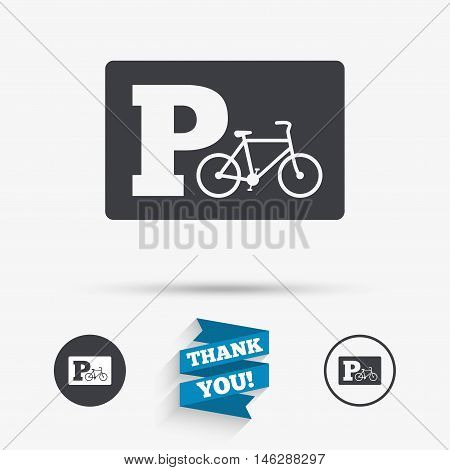 Parking sign icon. Bicycle parking symbol. Flat icons. Buttons with icons. Thank you ribbon. Vector