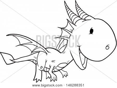 Cute Doodle Dragon Vector Illustration Art