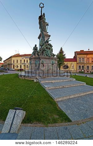 ARAD ROMANIA - AUGUST 26 2016: Statues and buildings from reconciliation Park of Arad Romania.
