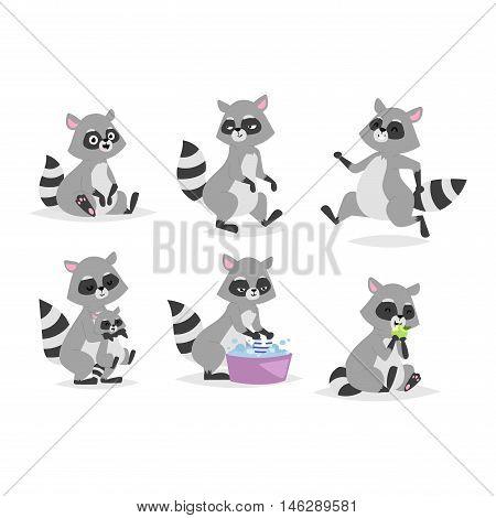 Standing raccoon vector illustration cartoon set. Fun smile drawing artwork furry cartoon raccoon cute mammal. Wild tail nature happy cartoon raccoon mammal gesture wildlife character.