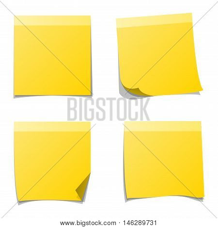 Yellow sticker and note paper sheet sticky isolated on white background vector illustration. Message office paper note. Sticker note sheet sticky business paper blank yellow note paper