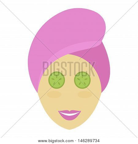 Beautiful spa girl with towel her head applying face mask. Cute spa girl cosmetic face mask puts cucumbers on eyes, doing lifting. Spa girl applying facial clay mask beauty lifting treatments vector.