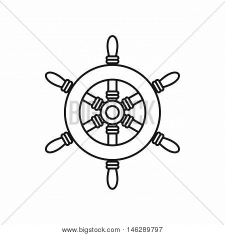 Ship steering wheel in outline style isolated on white background vector illustration