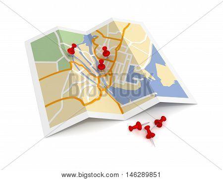 pushpin on map 3d illustration isolated on white background