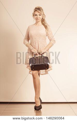 Girly Lady With Handbag.