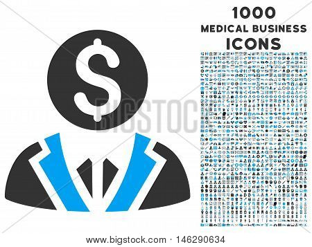 Banker glyph bicolor icon with 1000 medical business icons. Set style is flat pictograms, blue and gray colors, white background.