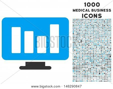 Bar Chart Monitoring glyph bicolor icon with 1000 medical business icons. Set style is flat pictograms, blue and gray colors, white background.