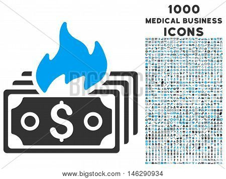 Burn Banknotes glyph bicolor icon with 1000 medical business icons. Set style is flat pictograms, blue and gray colors, white background.
