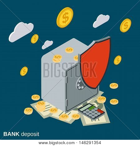 Bank deposit, financial security, money protection flat isometric vector concept illustration