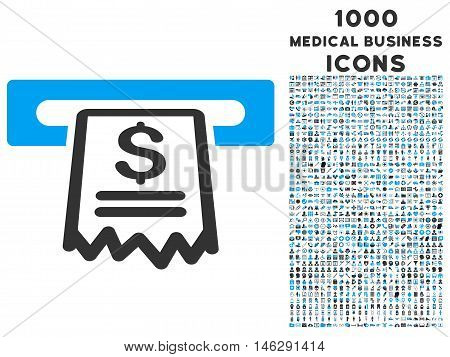 Cashier Receipt glyph bicolor icon with 1000 medical business icons. Set style is flat pictograms, blue and gray colors, white background.