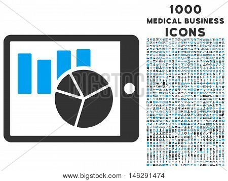 Charts on Pda glyph bicolor icon with 1000 medical business icons. Set style is flat pictograms blue and gray colors white background.