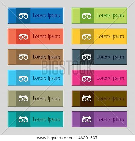 Binoculars Icon Sign. Set Of Twelve Rectangular, Colorful, Beautiful, High-quality Buttons For The S