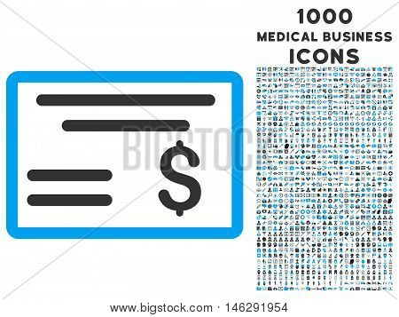 Dollar Cheque glyph bicolor icon with 1000 medical business icons. Set style is flat pictograms blue and gray colors white background.